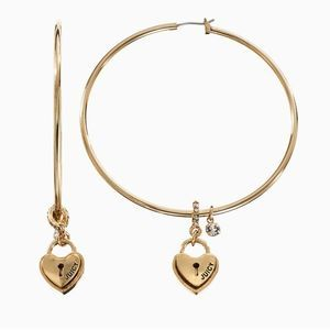 Juicy Couture Heart Lock Hoop Earrings NEW